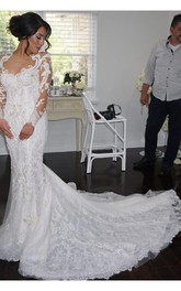 Delicate Mermaid Lace Appliques Wedding Dress 2018 Court Train