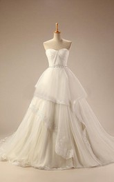 Sweetheart Empire Backless Long Tulle Wedding Dress With Sash And Ruching