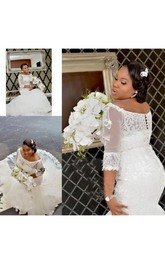 Elegant Half Long Sleeve Lace Appliques Off Shoulder Plus Size Wedding Dresses