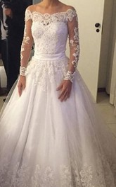 Elegant Long Sleeve Pleated A-line Lace Gown With Lace Back and Bow Belt