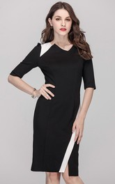 Paneld Half Sleeve V-Neck Sheath Dress with Slit