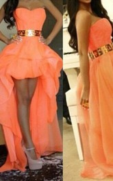 Sexy A-line Long Prom Dresses Sweetheart Asymmetrical Gold Belt Girls Hi-lo Evening Gown