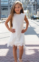 Sleeveless Scoop Neckline Short Party Feathers Lace Ivory Dress
