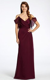 Sleeveless Spaghetti Chiffon Backless Bridesmaid Dress
