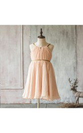 2018 Peach a Line Chiffon Junior Bridesmaid Dress With Spaghetti Strap