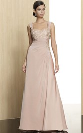Sleeveless Appliqued Strapped Jersey Formal Dress With Draping
