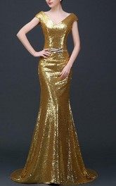 Trumpet Lace&Satin Dress With Sequins&Sash Ribbon&Lace-up Back