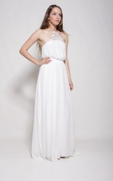 Chiffon Weddig Dress With Split Front Embroideries Split