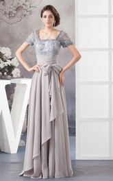 Chiffon Pleated Gown with Bow and Illusion Caped Sleeve