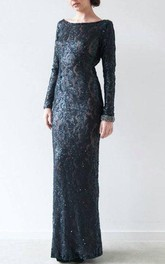 Sheath Scoop Long Sleeve Dress With Appliques And Deep-V Back