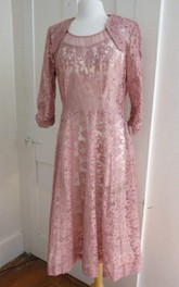 1940S Pink Lace Large Vintage Dusty Rose Cocktail Party Floral Lace 1950S Dress