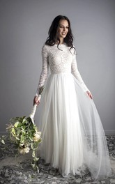 Bohemian A-line Ethereal Open Back Illusion Lace Long Sleeve Jewel Tulle Dress