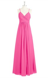 V-Neck A-Line Empire Chiffon Dress With Spaghetti Straps and Ruching