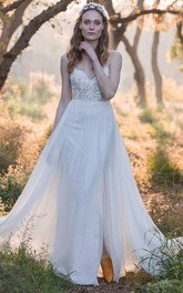 Spaghetti Straps Chiffon Beaded Lace Wedding Dress