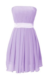 Pure Strapless Pleated Short Dress With Satin Band