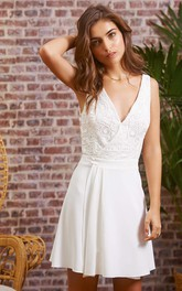 Chic Chiffon Lace V-neck A Line Sleeveless Short Backless Wedding Dress