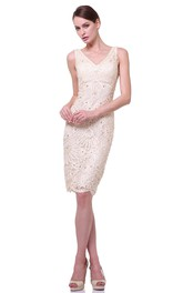 Pencil Knee-Length V-Neck Sleeveless Lace Dress