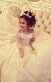 Ball Gown Off-the-shoulder Illusion Sleeves Flower Girl Dress