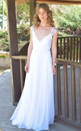 Deep-V-Neck Cap-Sleeve Chiffon Lace Chiffon Floor-Length Wedding Dress