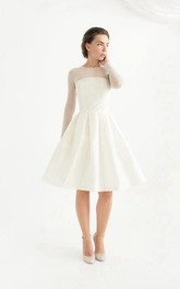 Knee-Length Long Sleeve Taffeta Weddig Dress