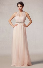 Vintage Style Halter Tulle Long Dress