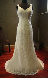 Backless Sheath Lace Wedding Dress With Beading And Straps Neck