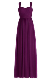 Sleeveless Long Chiffon Gown With Crisscross Ruching