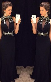 Delicate Black Mermaid Crystals Prom Dress 2018 High Neck Sleeveless