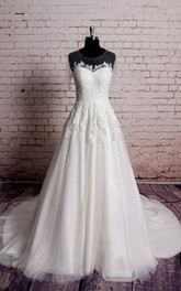 Jewel Illusion Neck Long A-Line Tulle Dress With Lace Appliques