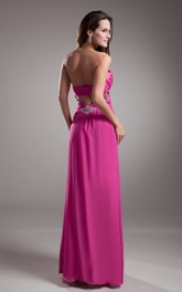 Soft Flowing Fabric Sweetheart Sleeveless Dress With Crystal Detailing And Draping