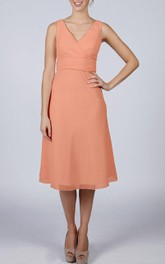 V-neck A-line Short Bridesmaid Dress