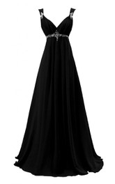 Straps A-line Long Dress With Beadings and Pleats