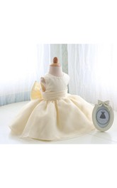 Sleeveless Jewel Neck Satin Bow Sash Organza Baby First Communion Dress