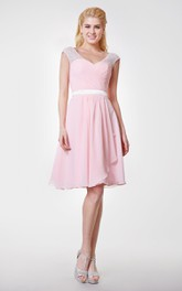 Lace Cap-sleeved A-line Knee Length Chiffon Dress