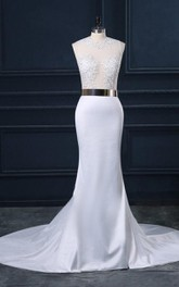 Mermaid Tulle Lace Satin Weddig Dress With Appliques