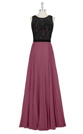 A-Line Chiffon Sleeveless Dress With Lace Bodice and Pleated Skirt
