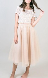 Knee-length Tea-length Tulle Dress
