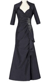 Elegant Sweetheart Empire Long Taffeta Dress With Jacket