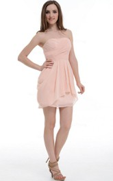 A-line Short Strapped Chiffon Dress