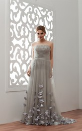Strapless Tulle Floor-Length Gown with Flower and Pleats