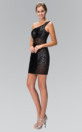 Pencil Short One-Shoulder Sleeveless Sequins Dress