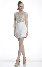 Pencil Short Bateau Sleeveless Illusion Dress With Beading
