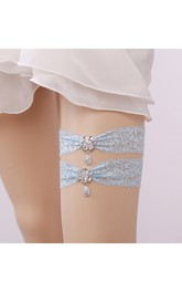 Drop Shape Diamond Lace Two Piece Elastic Bridal Garter Within 16-23inch