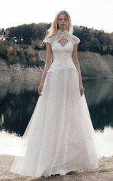 Ball Gown Natural Tulle Lace Taffeta Dress With Bolero