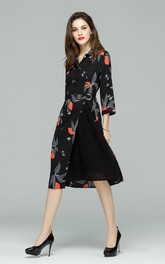 Printed Button Up Long Sleeve Midi Dress