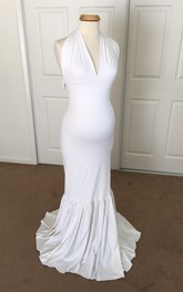 Sexy Mermaid V-neck Sleeveless Jersey Maternity Dress