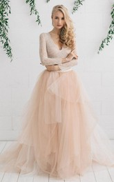 Tulle Satin Tiers Zipper Wedding Dress