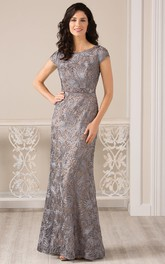 Cap-Sleeved Bateau-Neck Long Appliqued Gown