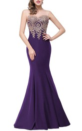 Sleeveless Mermaid Satin Dress with Lace Applique Bodice