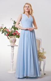 Sleeveless A-line Long Chiffon Dress With Pleats